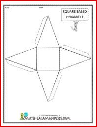 geometry printables square based pyramid net 1 tabs