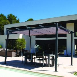 Tonnelle de jardin autoportante 4x3 m en aluminium et polyester 180 gr/m².