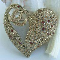 """Helenajewelry 1.97 """" золото-tone топаз горный хрусталь кристалл в форме сердца любви брошь Pin EE04831C2"""