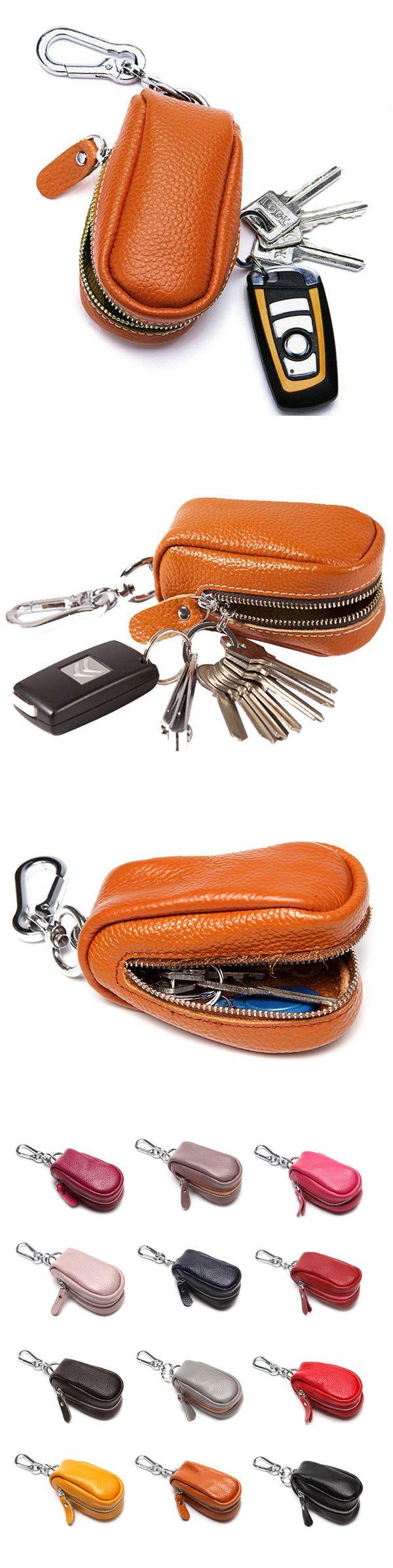 Women Men Genuine Leather Car Key Holder House Key Holder Bag