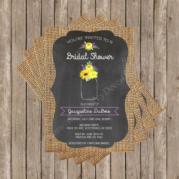 This water color mason jar sunflower bridal shower invitation is perfect for the bride-to-be who loves simple rustic chic mason jars and