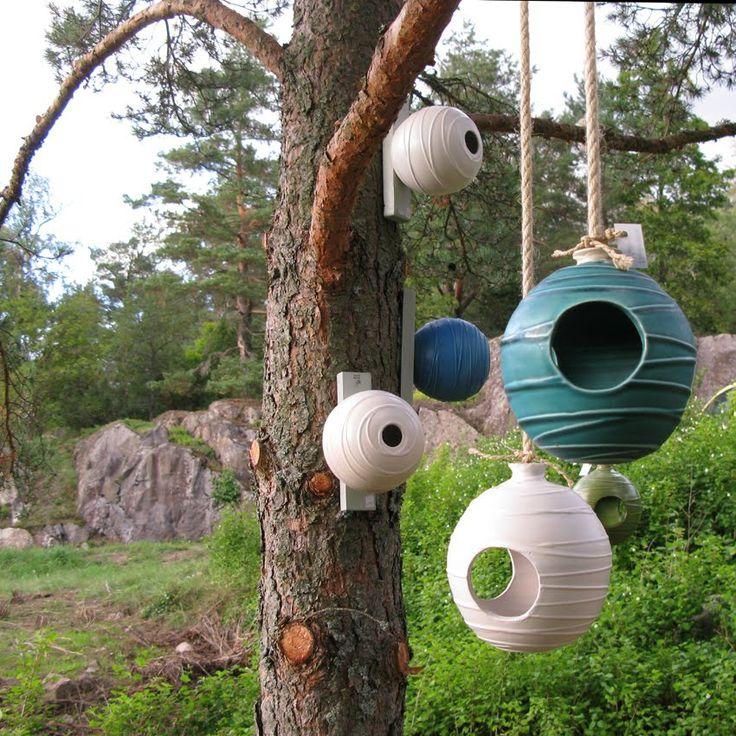 these are amazing! ceramic birdhouses...Cecilia Boivie