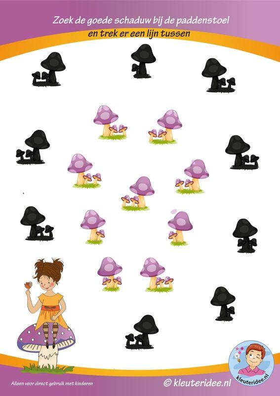 Herfst, zoek de goede schaduw bij de paddenstoelen, kleuteridee.nl, free printable