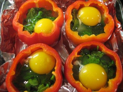 Breakfast Peppers! - Under 150 cals (depending on what you put in it) and over 10g of protein, GREAT way to start you day!