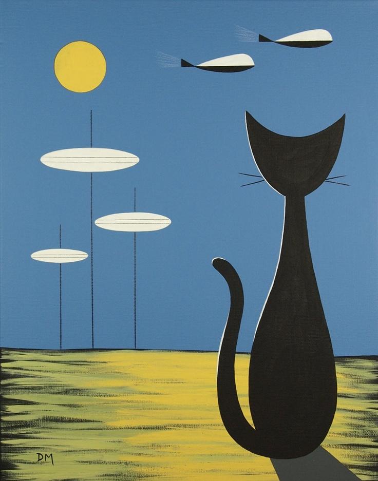 Mid-Century Modern wall art - retro cat.