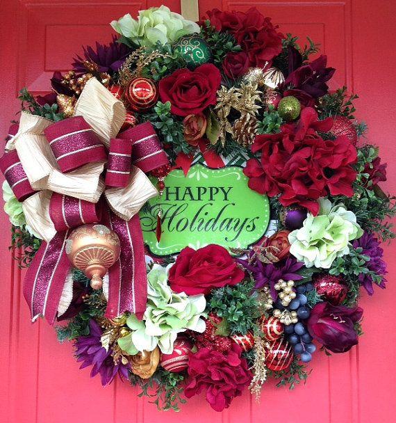 Christmas Wreath Holiday Wreath Christmas by petalpusherswreaths
