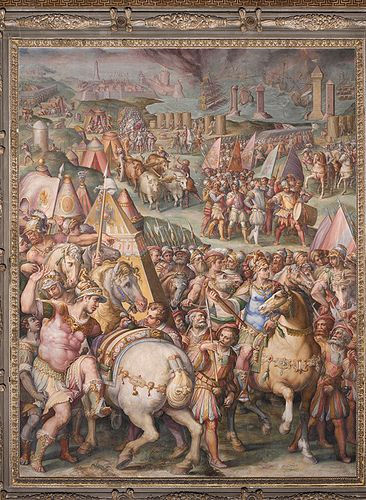 """The emperor Massimiliano lifts the siege from Livorno"", Giorgio Vasari and  Giovan Battista Naldini, 1568-71, fresco painting, Salone dei Cinquecento, Palazzo Vecchio, Florence, Italy, Mannerism, Italian painting of th XVI century"