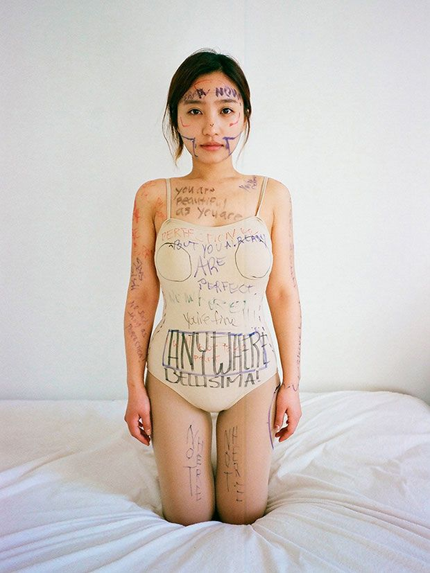 """""""I want to be perfect. Draw on me where I should get plastic surgery."""" Brooklyn-based photographer Ji Yeo believes beauty is integral to human nature. Her current works focus on ideas of beauty in contemporary culture, specifically on how women come to define and enforce an ideal of beauty on themselves."""