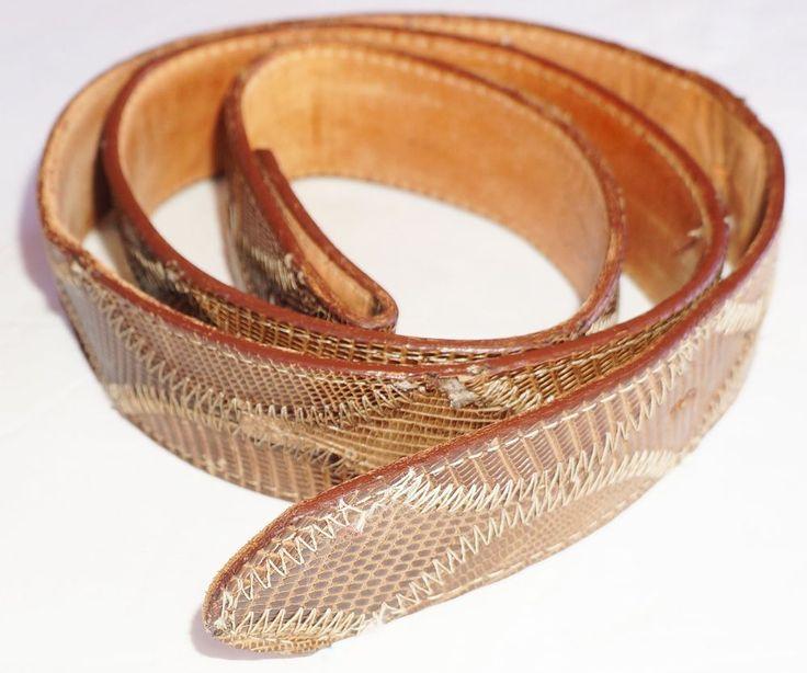 Genuine  Lizard Skin Vintage  Belt by Justin Boot Co  Made in U.S.A. 40 in long #handmade