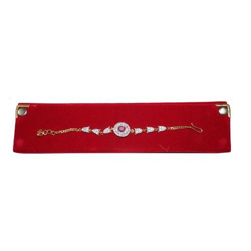Circular Shaped Silver Stone Gold Chain Bracelet  Rakhi