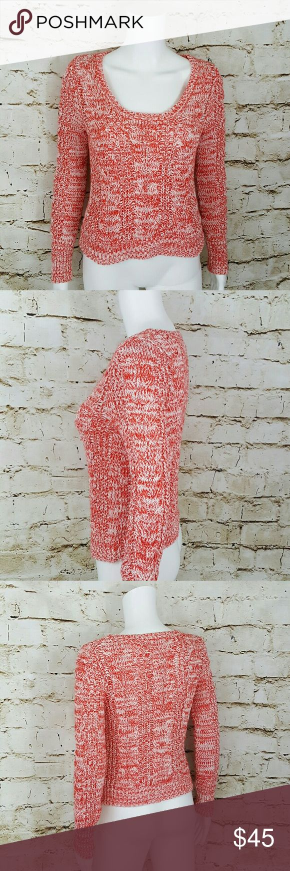 """Free People chunky cable knit sweater Scoop neck comfy cozy Free People sweater in a marled weave of red and cream, very pretty super cute with shorts or a denim skirt 18"""" across from armpit to armpit and 22"""" long from shoulder to hem Free People Sweaters"""