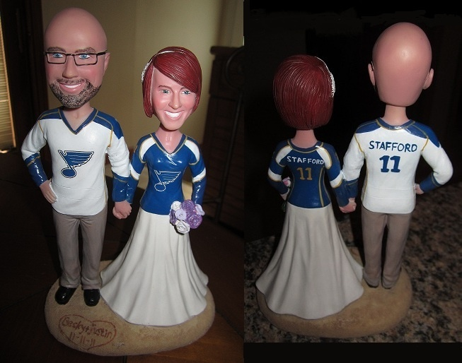 st louis blues themed wedding cake topper