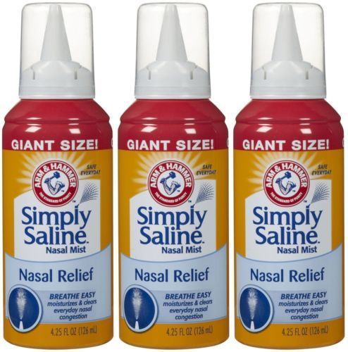 Allergy Nasal Spray Simply Saline Relief Mist Medicine Congestion Cold (3 PACK) #ArmHammer