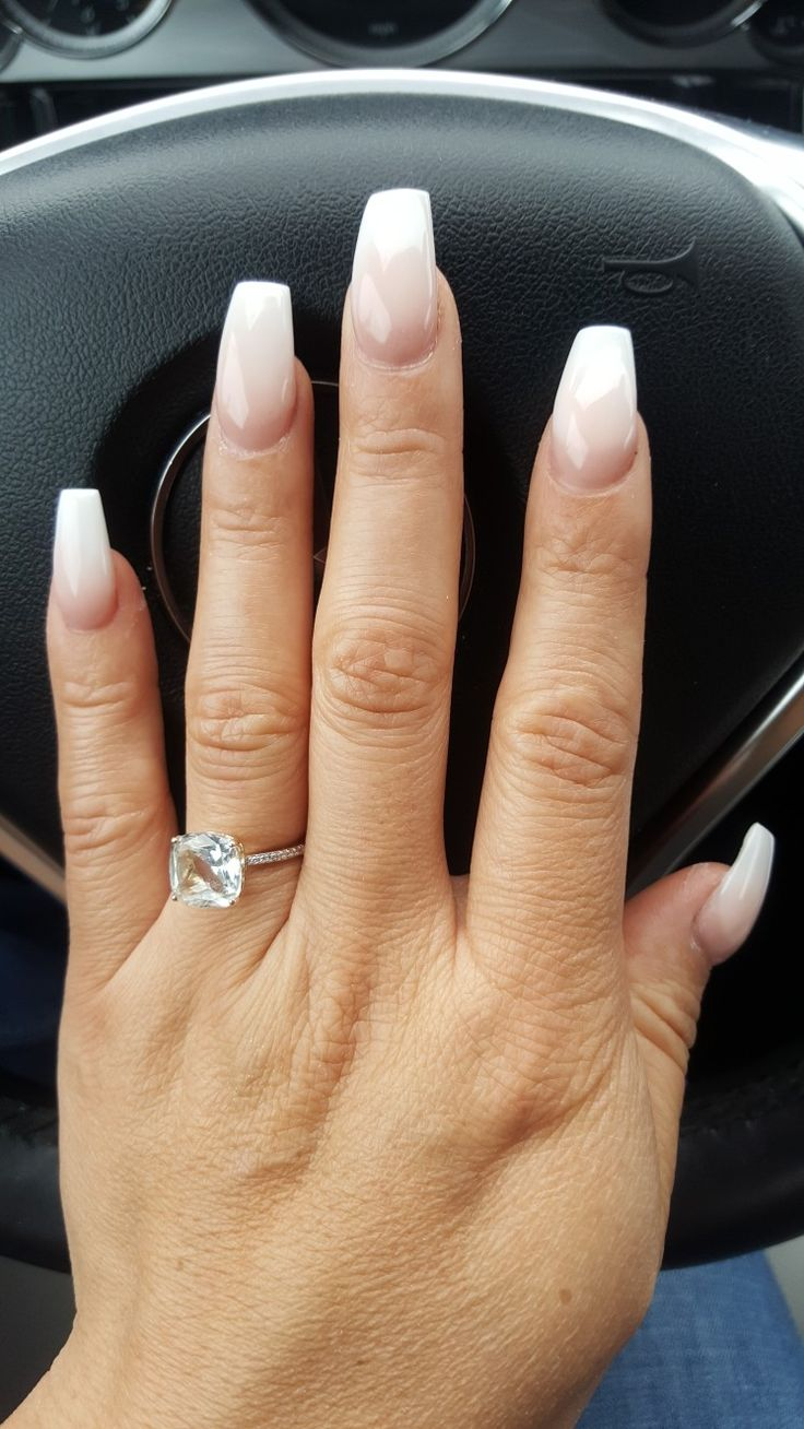 Pink And White Ombre Wide Coffin Nails