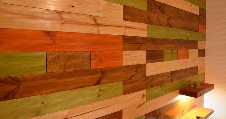 Muro de madera con diferentes barnices revestimientos de Muros de madera