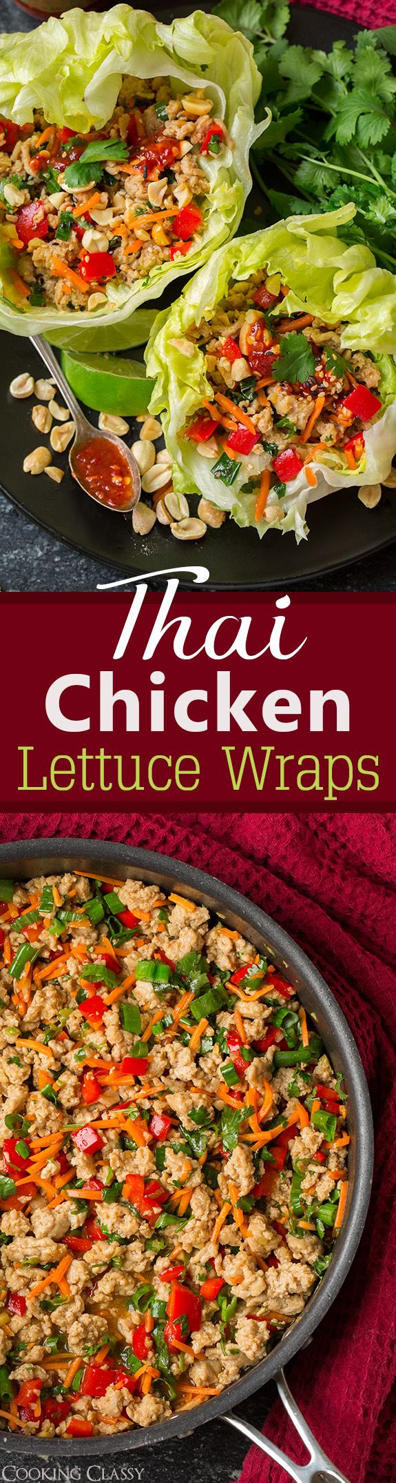 Thai Chicken Lettuce Wraps - flavorful, easy, love the crunch! Will definitely make these again and again!