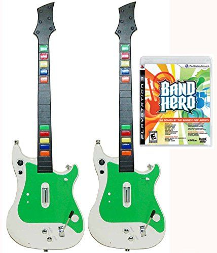 Playstation 3 PS3 DOUBLE GUITAR HERO Controllers  Band Hero Video Game Bundle >>> Click image to review more details.