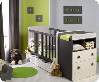 Lit bébé évolutif à barreaux Malte avec Plan à Langer taupe/blanc