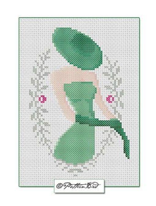0 point de croix silhouette chapeau robe et gants verts - cross stitch green…