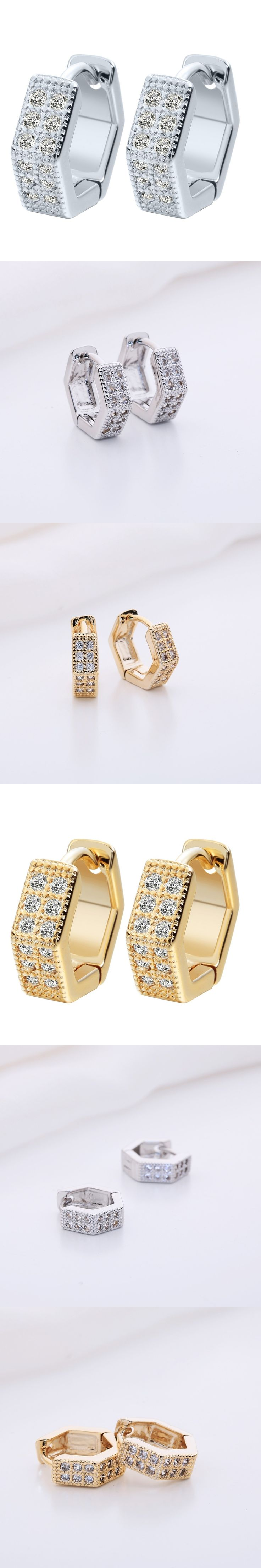 QIMING 2017 Silver Earrings Charms Geometric Jewelry New Gold Tone Women CZ Stone Crystal Wedding Earrings For Baby Girls A1279