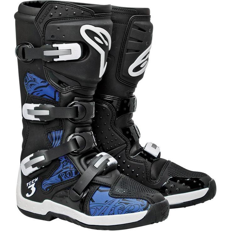 Alpinestars Tech 3 Motocross Dirt Bike Offroad ATV Boots Black/Blue Swirls