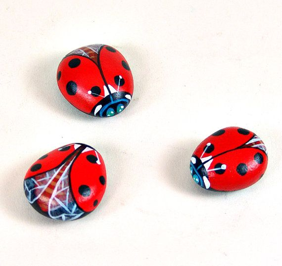 Love, love, love these ladybug rocks! This rock artist has a very unique style!