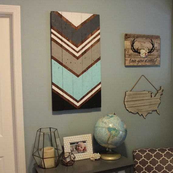 Modern Chevron Arrow wood wall art sign by SamBeeDesigns on Etsy