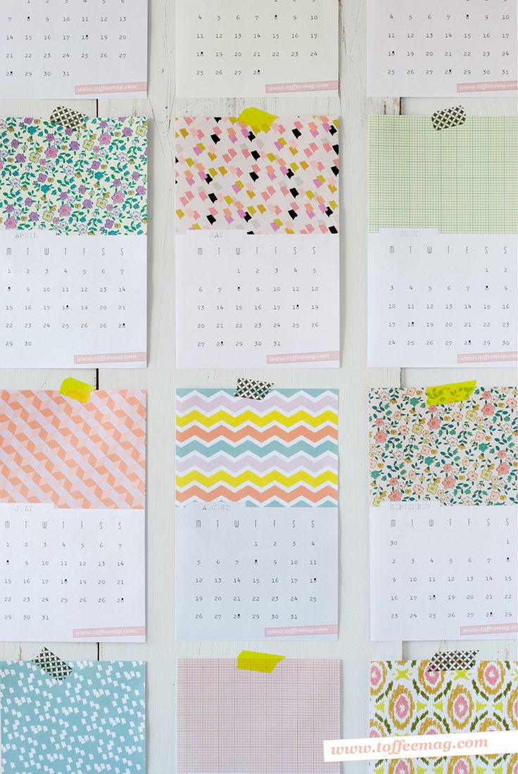 [check out toffee mag for a 2014 version] Free Printable 2013 Wall Calendars from Toffee Magazine