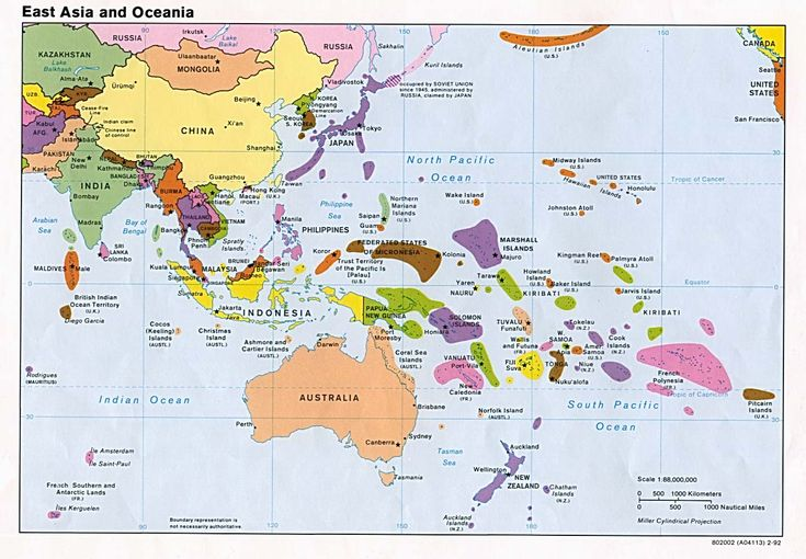 Oceania consists of Australia, Fiji, Kiribati, Marshall Islands, Papa New Guinea, Samoa, Federated States of Micronesia, Nauru, Tuvalu, Vanuatu, New Zealand, Palau, Solomon Islands, Tongo.