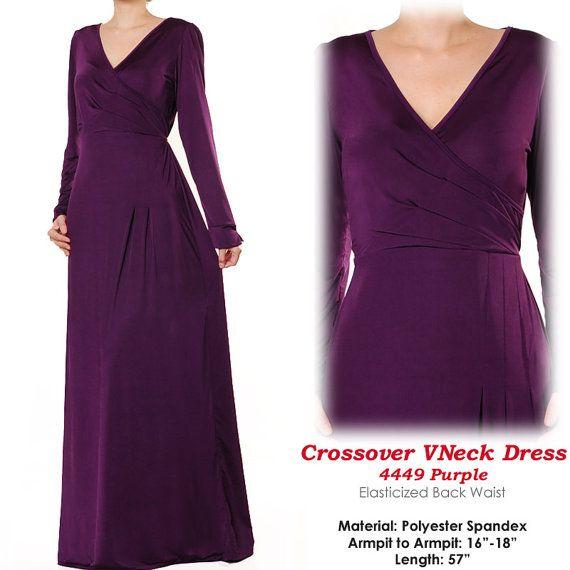 Crossed VNeck Muslim Islamic Jersey Abaya Long Sleeves Maxi Dress Size S/M - 4449 Purple on Etsy, €24,12