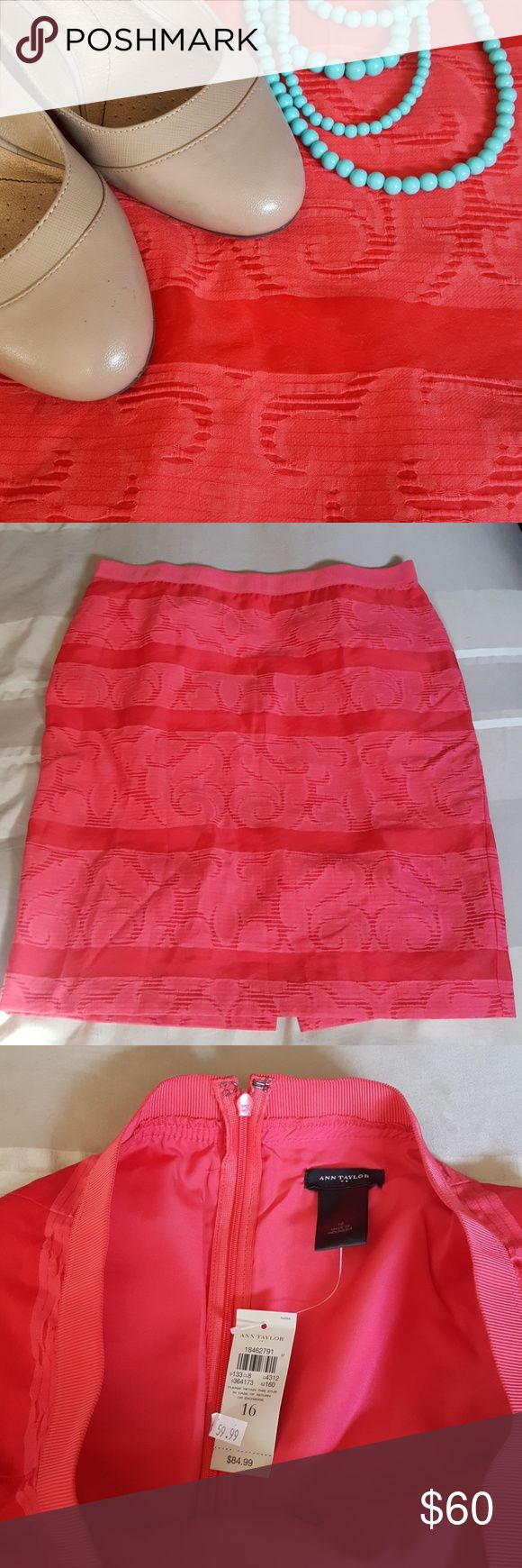 Ann Taylor Coral pencil skirt Very flattering coral pattern Ann Taylor pencil skirt. Never worn. Was a goal skirt but I just never achieved the goal. Waist is stretchy. Lined and delicate. Ann Taylor Skirts Pencil