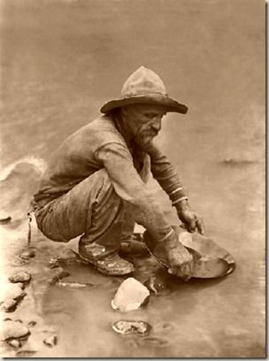 California Gold Rush 1848. Panning for  gold.