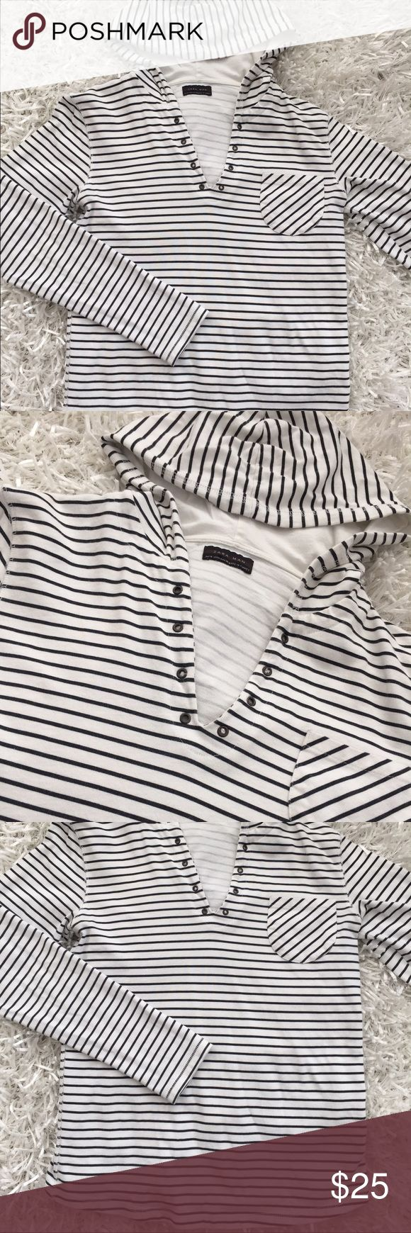 Zara Man Navy and White Stripe Hoodie Lightweight Zara Man lightweight hoodie in navy and white. Perfect condition and slim enough for a women's pullover. Zara Tops Sweatshirts & Hoodies