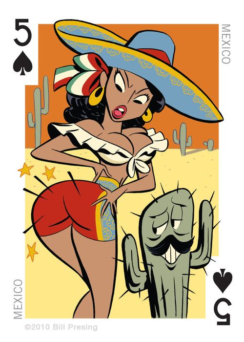 mexico pin up 39 bum 39 card deck pinterest charakterdesign witzig und motive. Black Bedroom Furniture Sets. Home Design Ideas