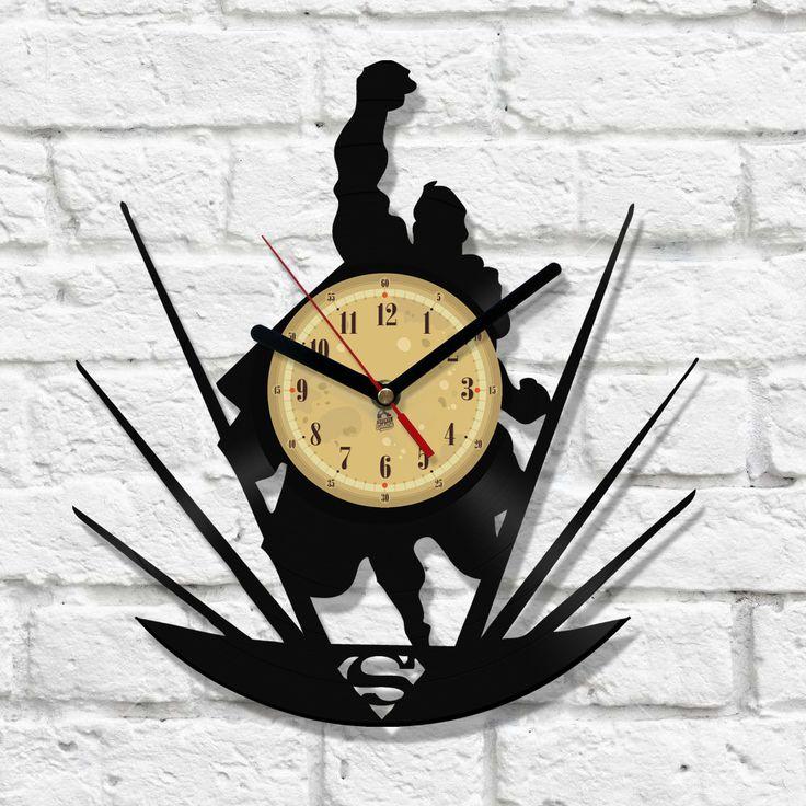 Vinyl Clock Man Of Steel Laser Craft Clock Vinyl