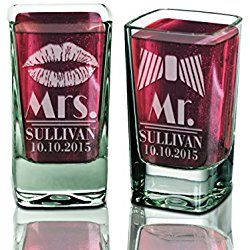 Lips Bow Tie Personalized Set of 2 Mr and Mrs Shot Glasses Custom Bridal Shower Newlyweds Newly Married Christmas Wedding Gift for Bride and Groom