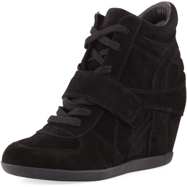 Ash Bowie Lace-Up Suede Sneaker Bootie (3.450 ARS) ❤ liked on Polyvore featuring shoes, boots, ankle booties, black, shoes booties, lace up booties, lace-up bootie, laced up ankle boots, black ankle boots and lace up ankle boots