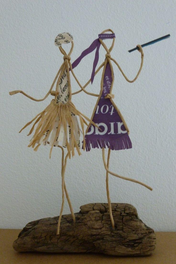 Les années folles, deux femmes - figurine en ficelle et papier : Accessoires de maison par ficelleetpapier