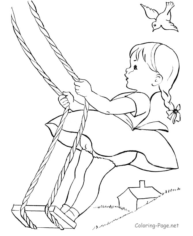 Summer Coloring Page Little Girl Swing