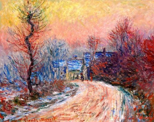 Coming into Giverny in Winter, Sunset by Claude Monet (1840-1926).