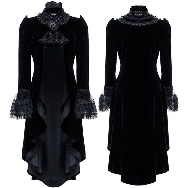 Velvet 2 Style Black Gothic Jacket by Dark in Love ($72) ❤ liked on Polyvore featuring outerwear, jackets, velvet jacket, velvet gothic jacket, goth jacket and gothic jackets