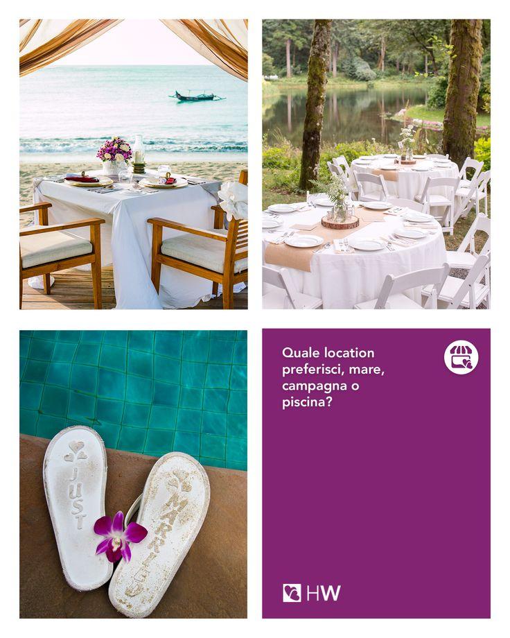 In quale location sogni di sposarti? Mare, campagna o a bordo di una meravigliosa piscina... vai su Happy Wedding e scopri quale fa per voi!