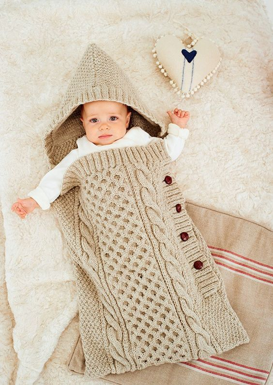 Knit but inspiring baby sleep bag: