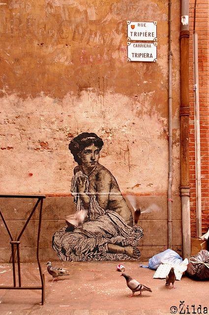by Zilda  Paste-up. Acrylic, posca & oils on paper  TOULOUSE, rue Tripière