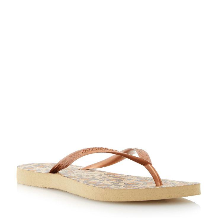 Havaianas 4103352 slim animal flip flops, Metallic