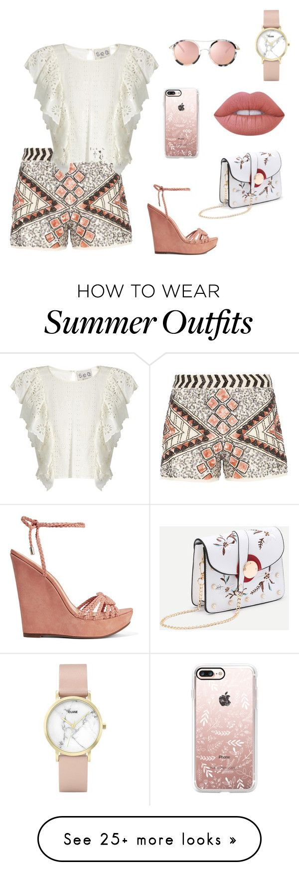 """""""lovely summer outfit"""" by lena-topouzi on Polyvore featuring Dorothy Perkins, Sea, New York, Schutz, Casetify, CLUSE and Lime Crime"""