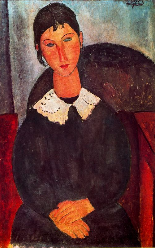 Elvira with a white collar, 1918  Amedeo Modigliani