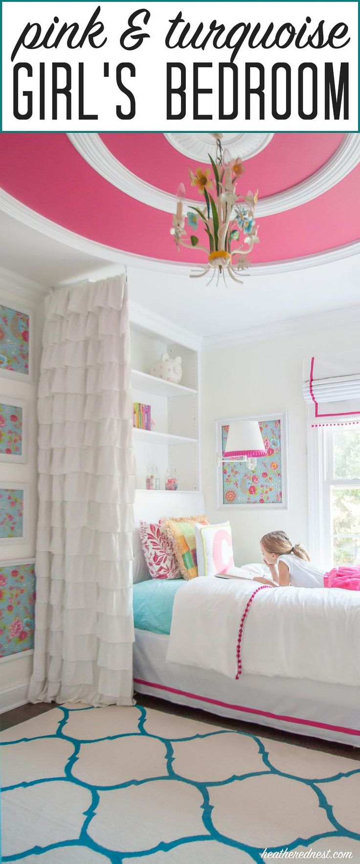 """""""GORGEOUS! Turquoise and pink bedroom reveal from heatherednest.com LOVE the DIY bedding! And that wallpaper :) :)"""