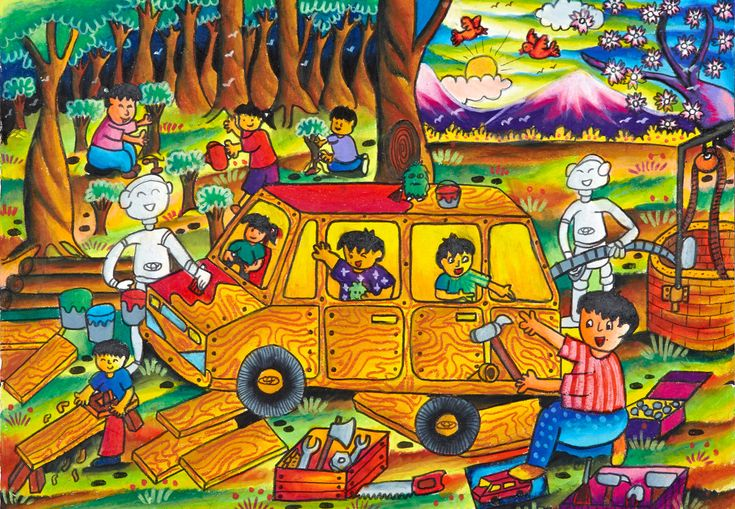 'Nature Policy' by Jonathan Jovvita, Aged 10, Indonesia: 2nd Contest, Gold #KidsArt #ToyotaDreamCar