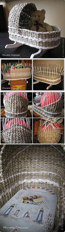 Плетеная кроватка для кукол. - Плетение из газетных трубочек - Поделки из бумаги - Каталог статей - Рукодел.TV